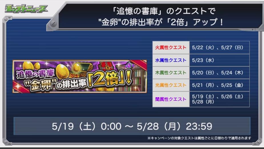 【モンスト】追憶の書庫、金卵2倍は神熱イベント!